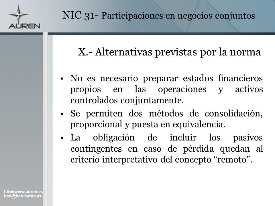 X.- Alternativas previstas por la norma