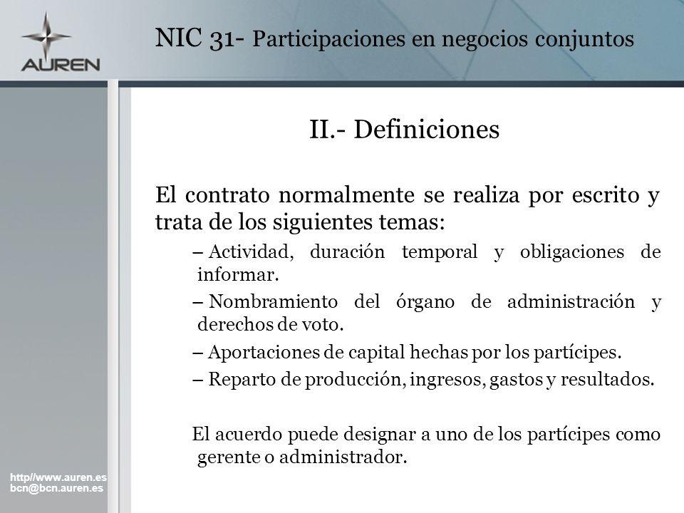 NIC 31- Participaciones en negocios conjuntos