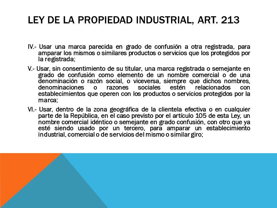 Ley de la Propiedad Industrial, Art. 213