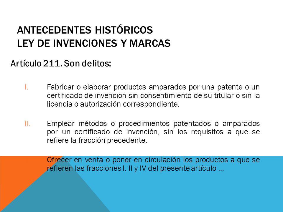 Antecedentes Históricos Ley de Invenciones y Marcas
