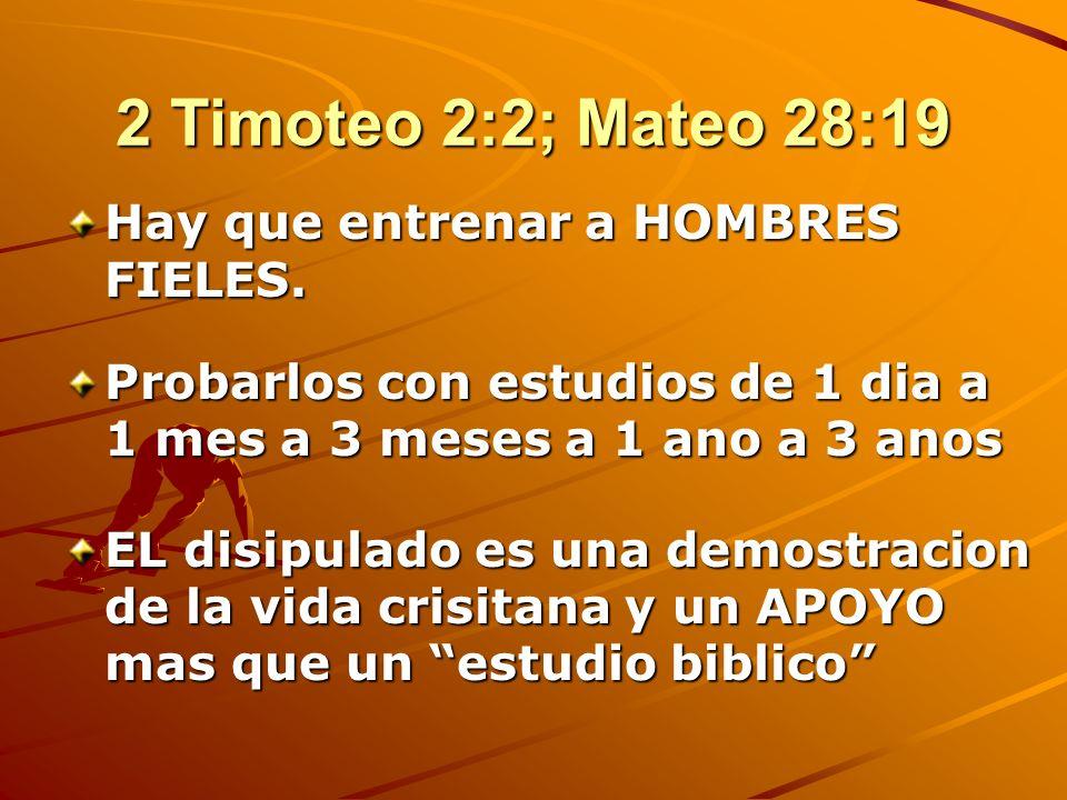 2 Timoteo 2:2; Mateo 28:19 Hay que entrenar a HOMBRES FIELES.