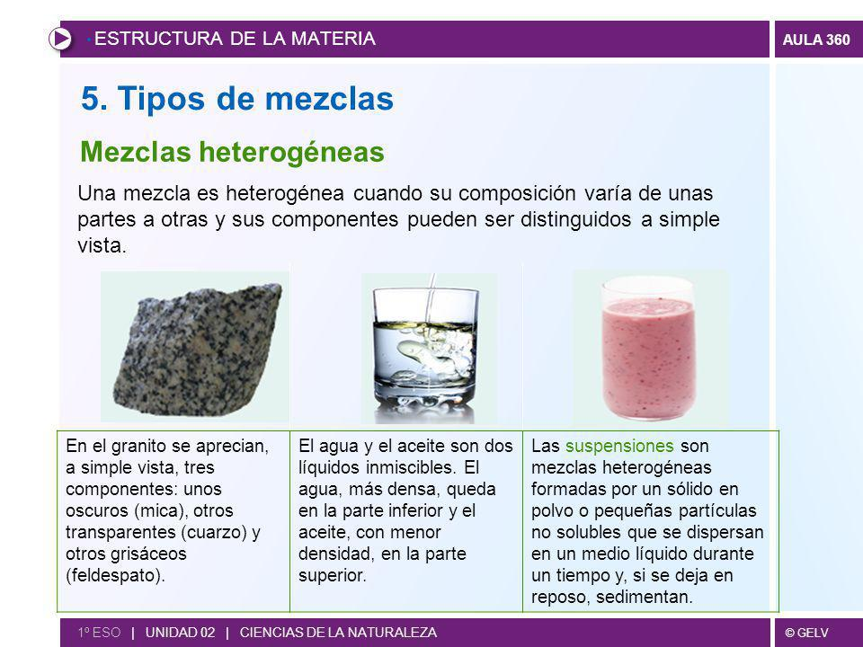 5. Tipos de mezclas Mezclas heterogéneas