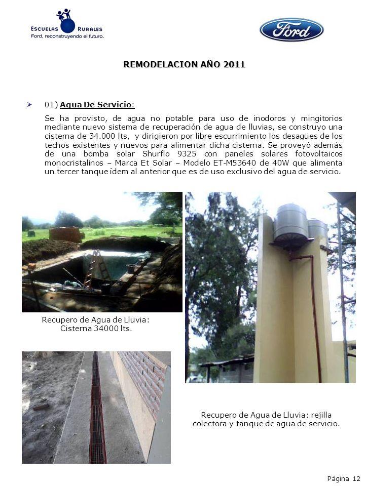 Recupero de Agua de Lluvia: Cisterna 34000 lts.
