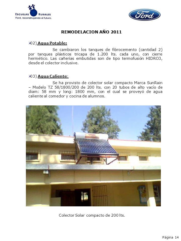 REMODELACION AÑO 2011 02) Agua Potable: