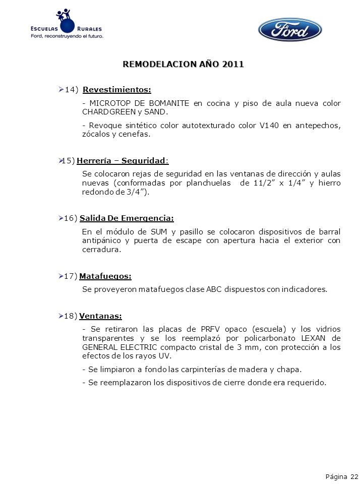 REMODELACION AÑO 2011 14) Revestimientos: