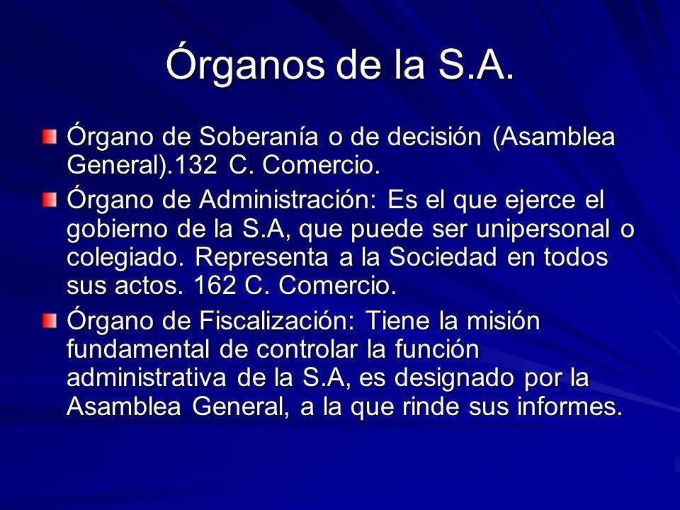 Órganos de la S.A. Órgano de Soberanía o de decisión (Asamblea General).132 C. Comercio.