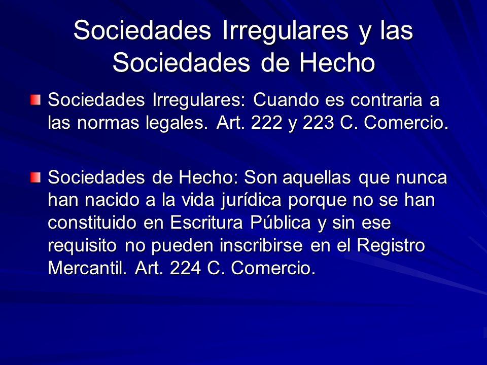 Sociedades Irregulares y las Sociedades de Hecho