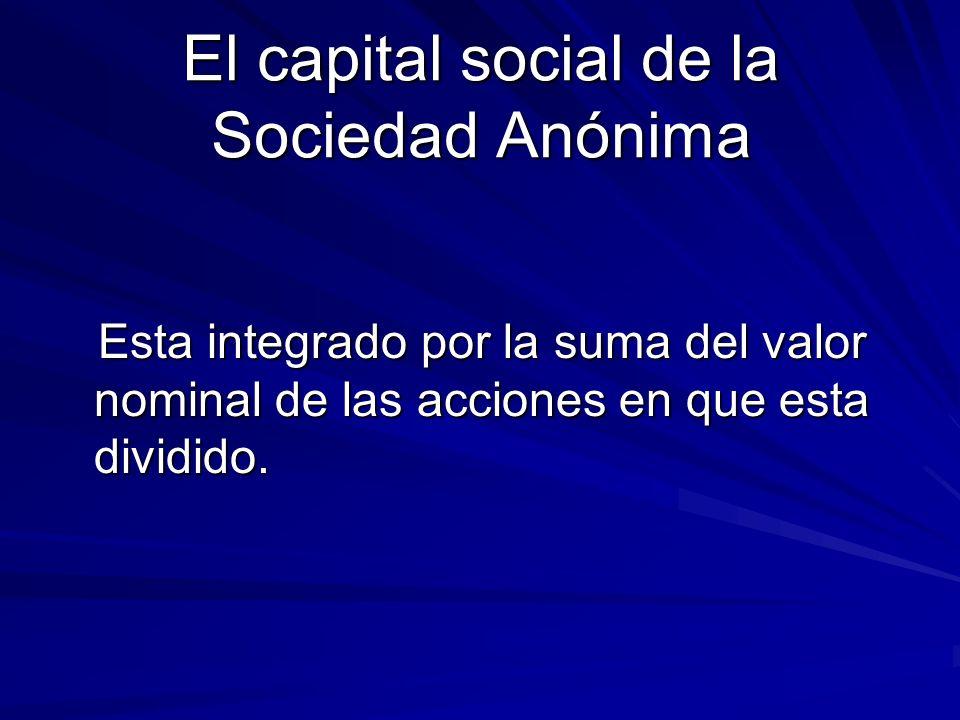 El capital social de la Sociedad Anónima