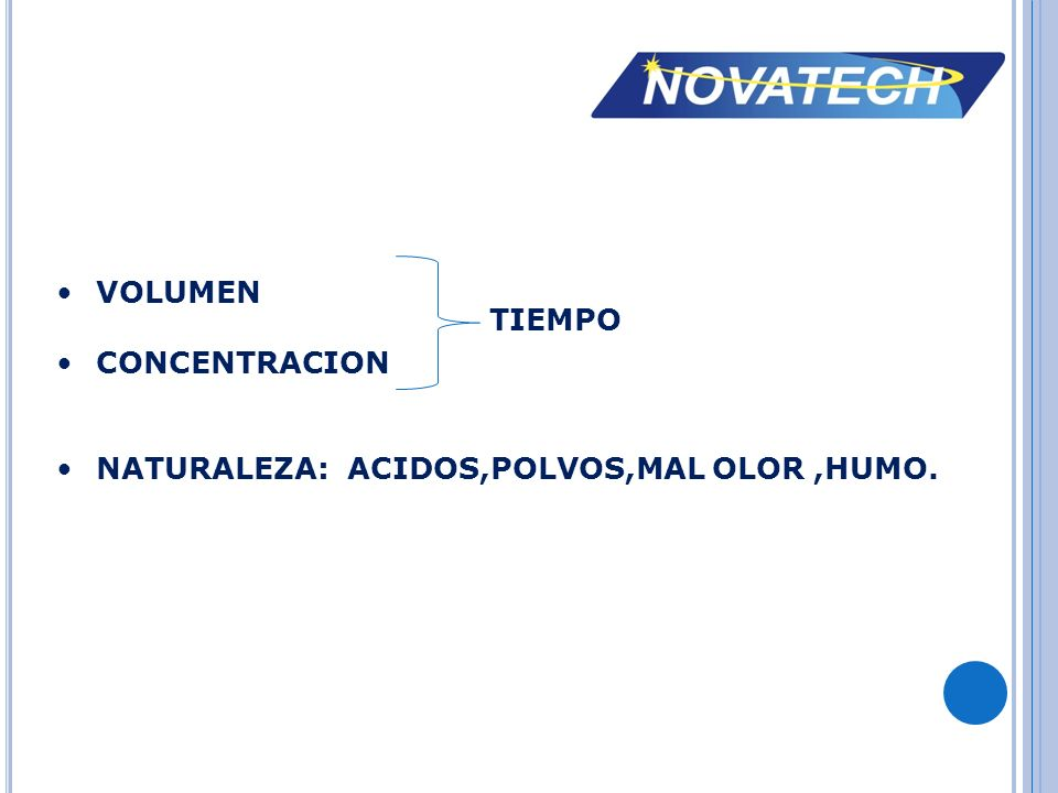 VOLUMEN CONCENTRACION NATURALEZA: ACIDOS,POLVOS,MAL OLOR ,HUMO. TIEMPO