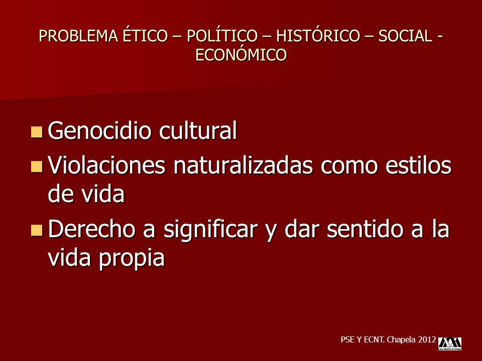 PROBLEMA ÉTICO – POLÍTICO – HISTÓRICO – SOCIAL - ECONÓMICO