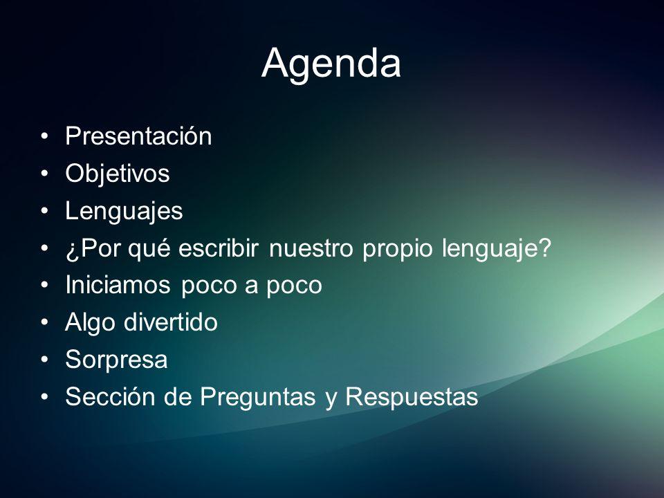 Agenda Presentación Objetivos Lenguajes