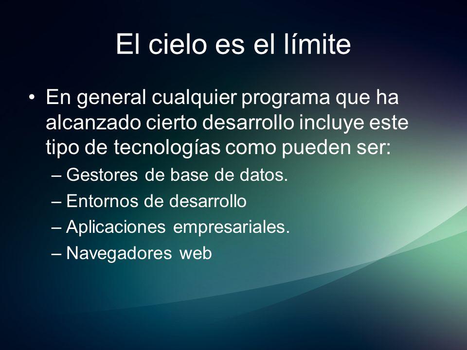 El cielo es el límiteEn general cualquier programa que ha alcanzado cierto desarrollo incluye este tipo de tecnologías como pueden ser:
