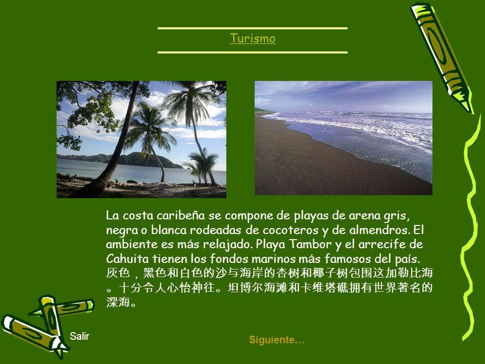 灰色,黑色和白色的沙与海岸的杏树和椰子树包围这加勒比海。十分令人心怡神往。坦博尔海滩和卡维塔礁拥有世界著名的深海。