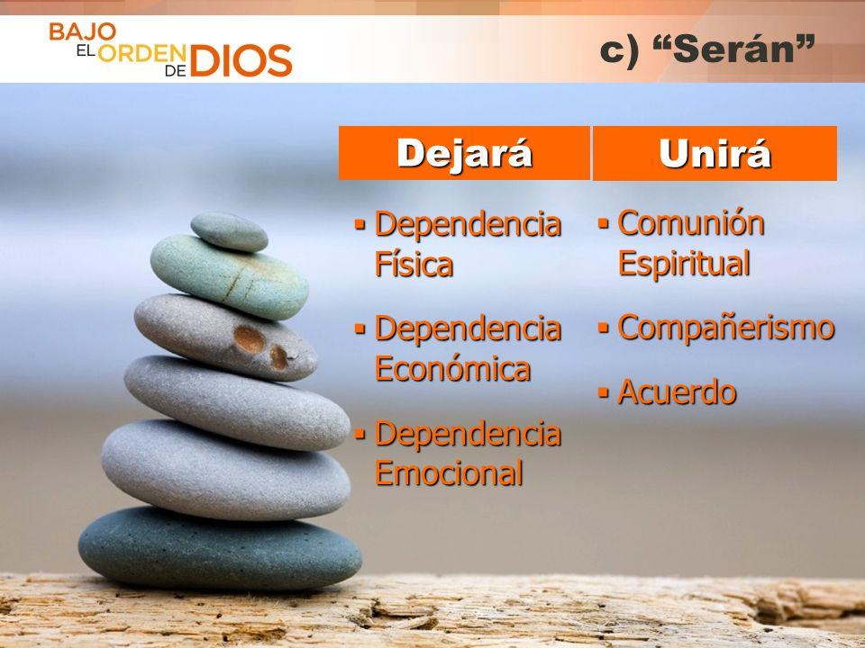 c) Serán Dejará Unirá Dependencia Física Comunión Espiritual
