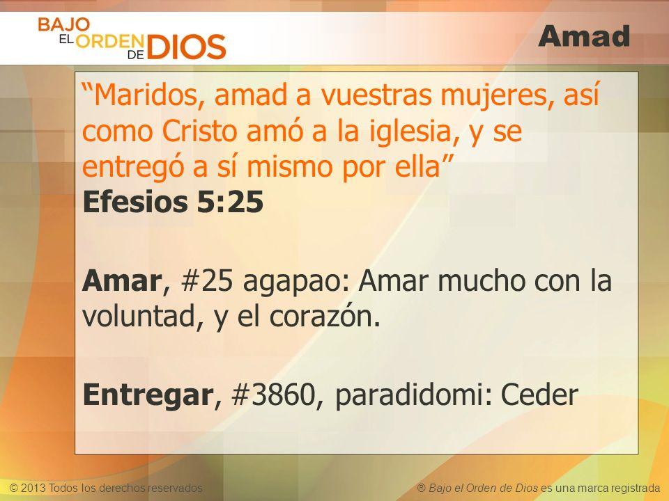 Amad Maridos, amad a vuestras mujeres, así como Cristo amó a la iglesia, y se entregó a sí mismo por ella Efesios 5:25.