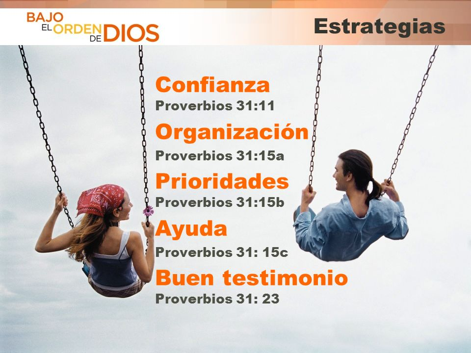 Confianza Proverbios 31:11 Organización Prioridades Proverbios 31:15b