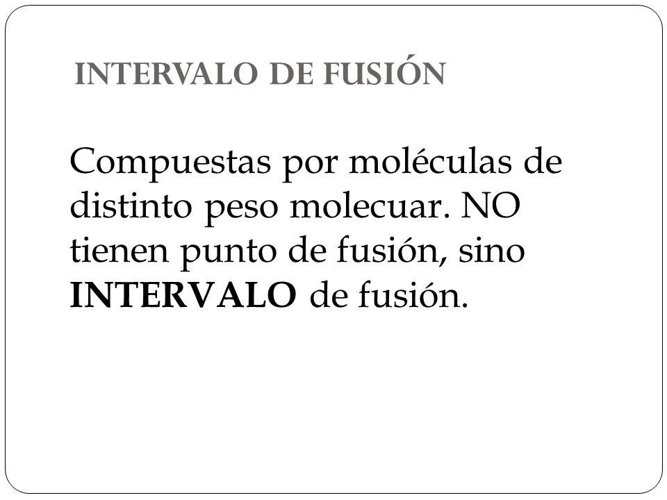 INTERVALO DE FUSIÓN Compuestas por moléculas de distinto peso molecuar.