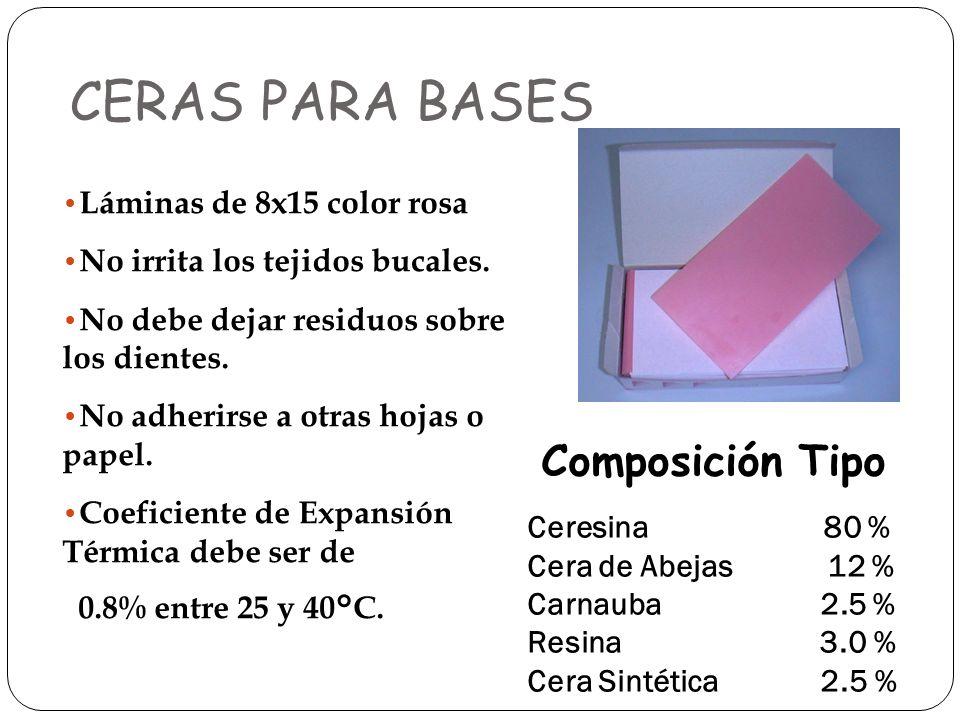 CERAS PARA BASES Composición Tipo Láminas de 8x15 color rosa