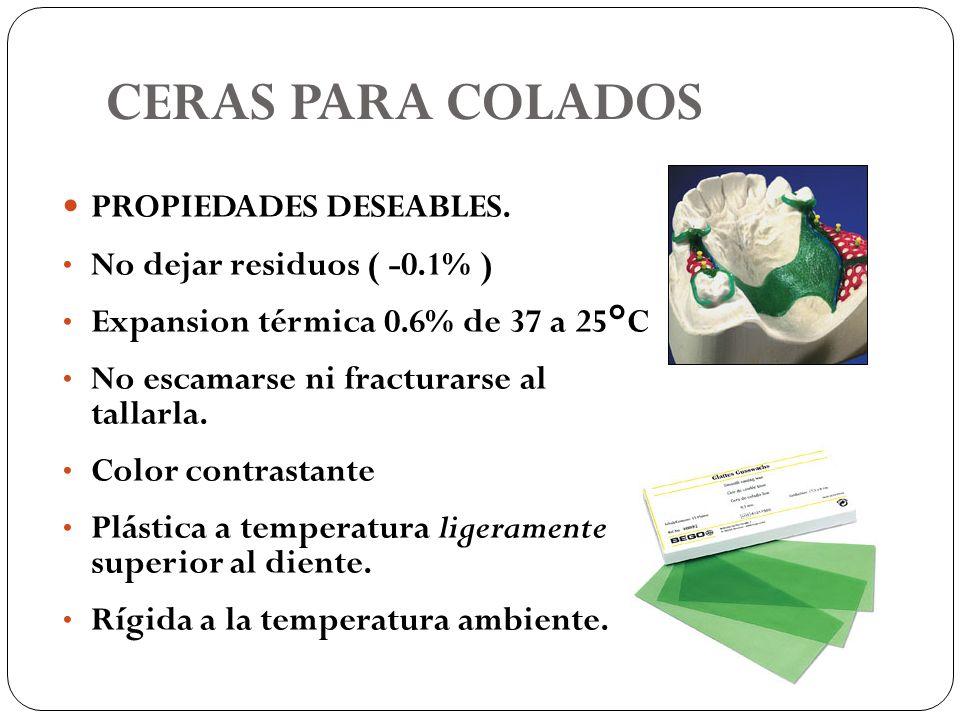 CERAS PARA COLADOS PROPIEDADES DESEABLES. No dejar residuos ( -0.1% )
