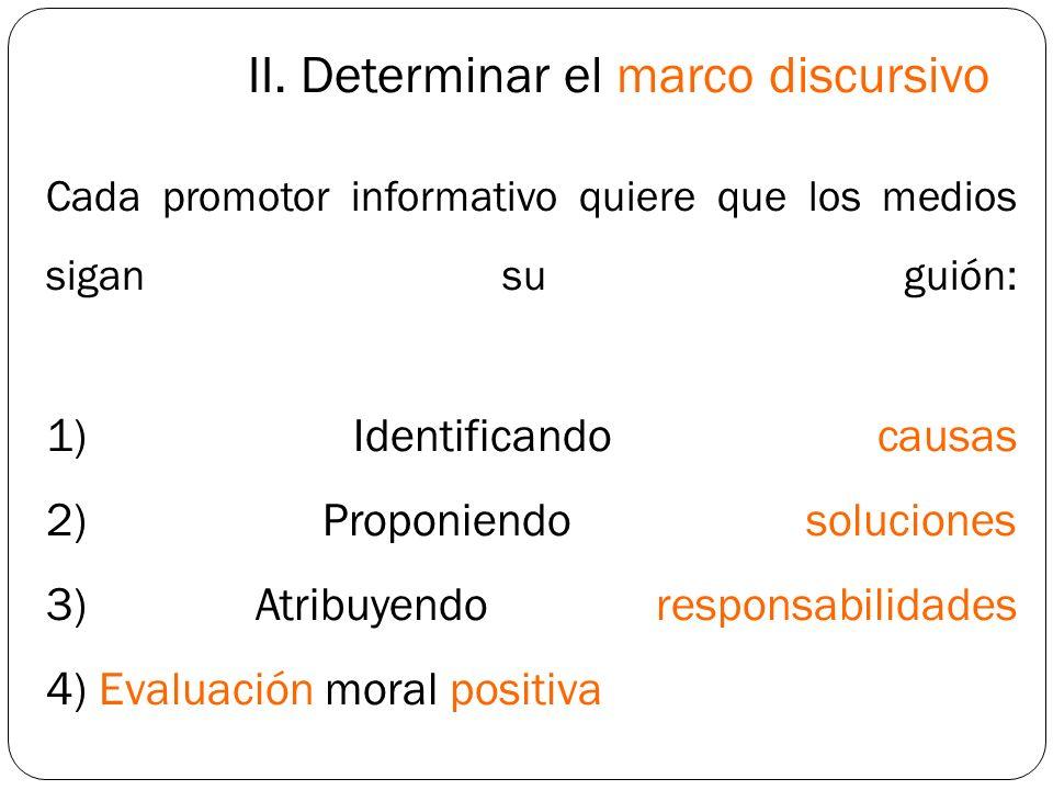 II. Determinar el marco discursivo