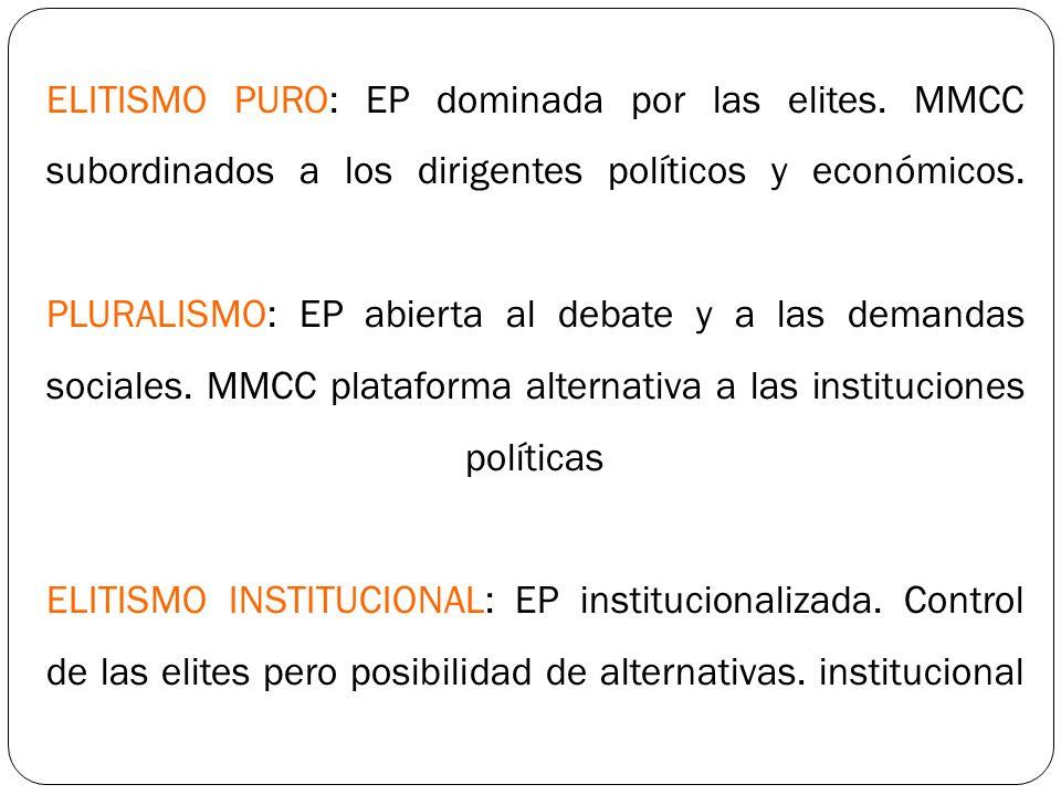 ELITISMO PURO: EP dominada por las elites