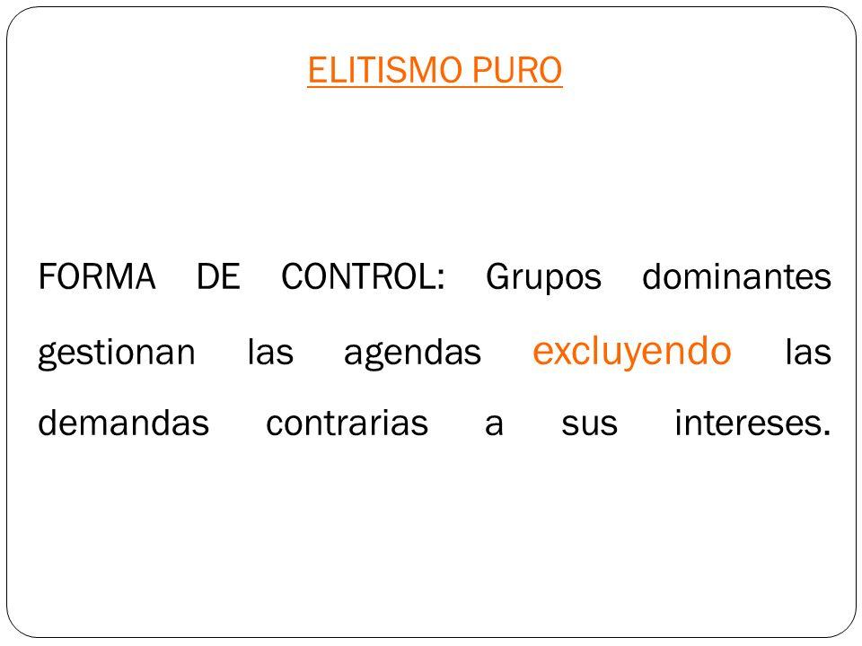 ELITISMO PURO FORMA DE CONTROL: Grupos dominantes gestionan las agendas excluyendo las demandas contrarias a sus intereses.