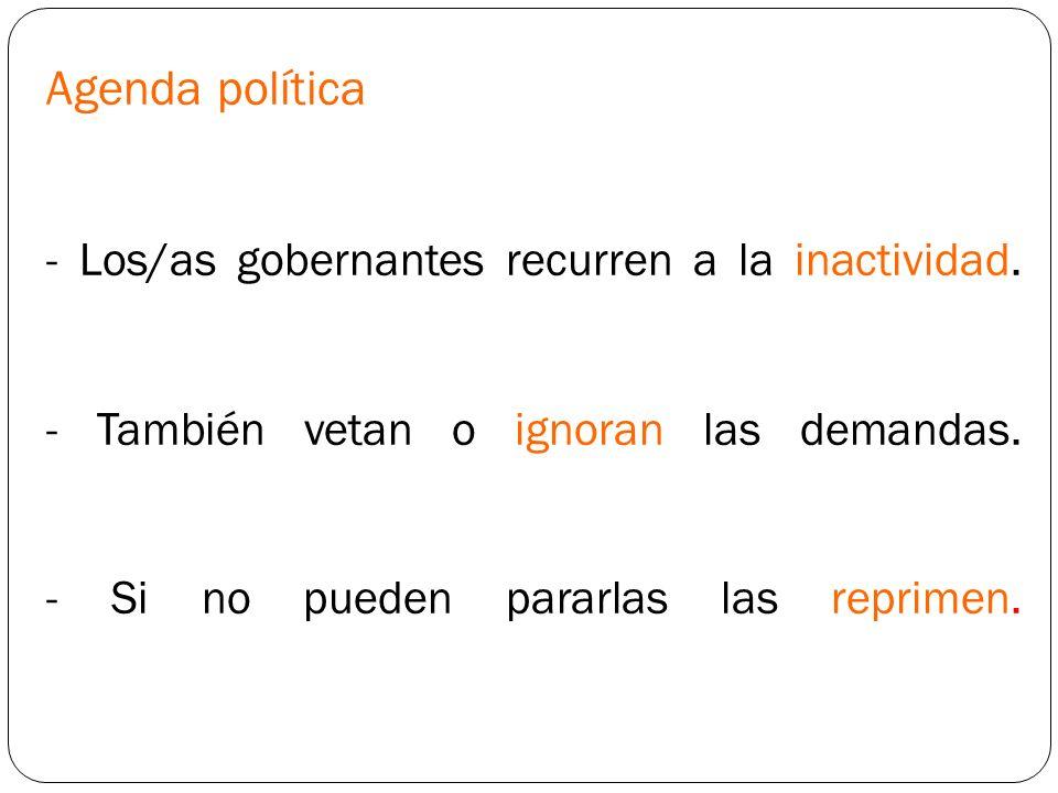 Agenda política - Los/as gobernantes recurren a la inactividad.