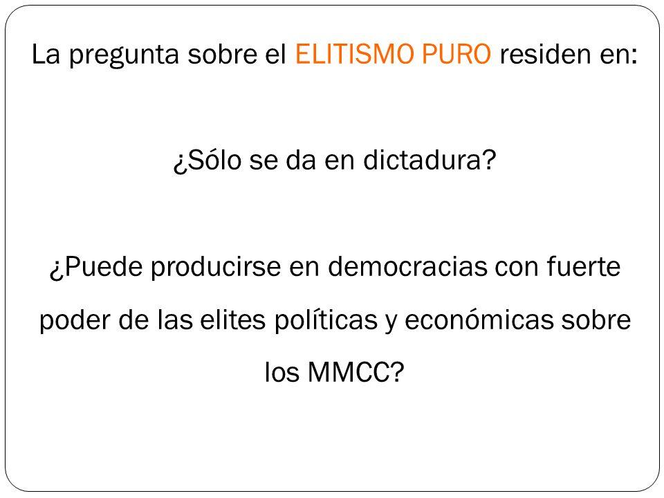 La pregunta sobre el ELITISMO PURO residen en: ¿Sólo se da en dictadura.
