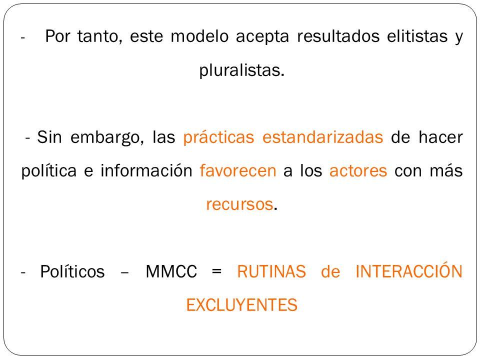 -. Por tanto, este modelo acepta resultados elitistas y pluralistas