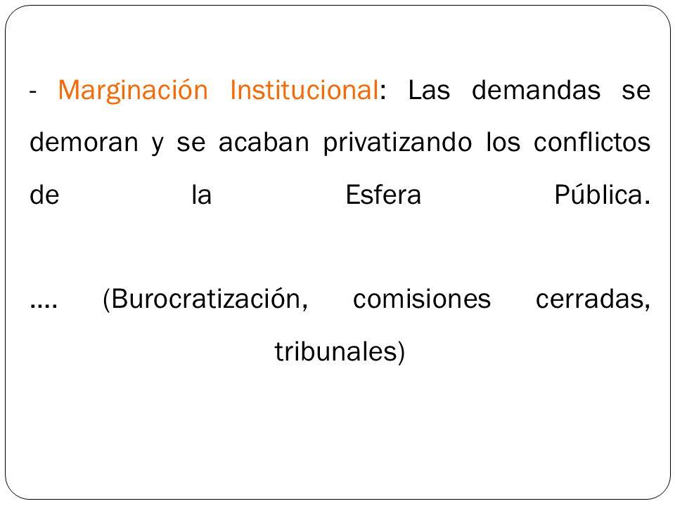- Marginación Institucional: Las demandas se demoran y se acaban privatizando los conflictos de la Esfera Pública.