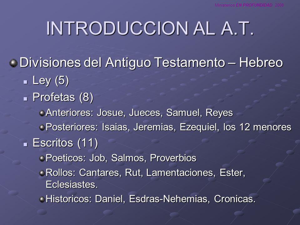 INTRODUCCION AL A.T. Divisiones del Antiguo Testamento – Hebreo