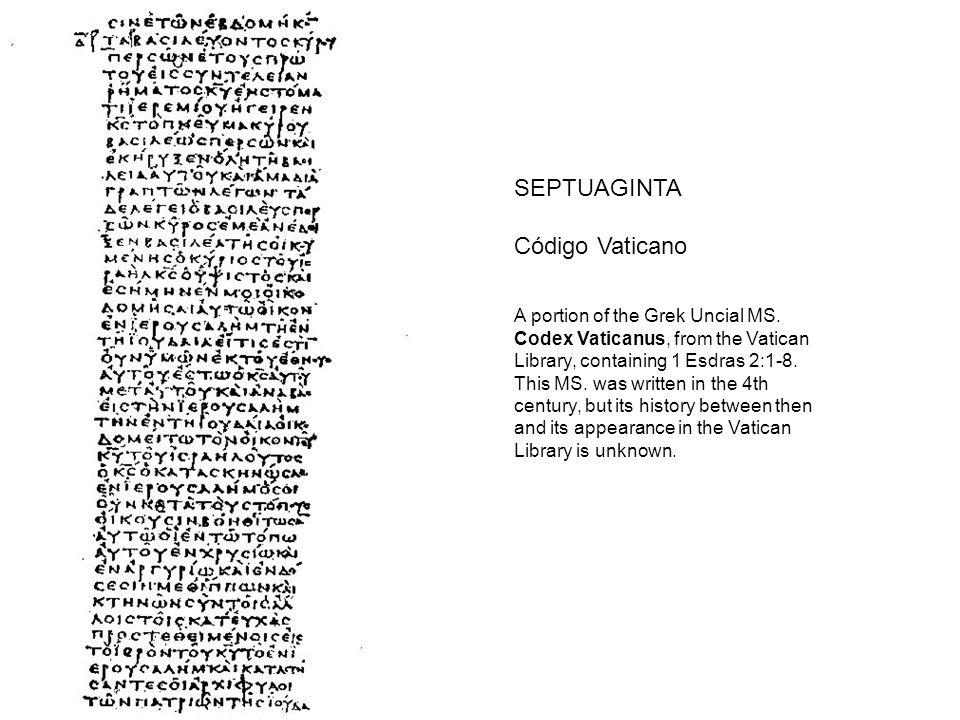 SEPTUAGINTA Código Vaticano