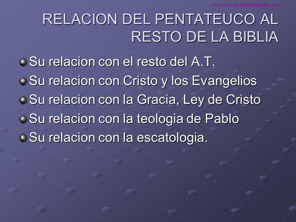 RELACION DEL PENTATEUCO AL RESTO DE LA BIBLIA