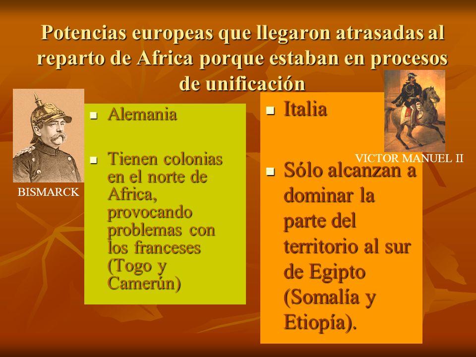 Potencias europeas que llegaron atrasadas al reparto de Africa porque estaban en procesos de unificación