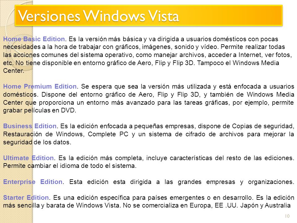 Versiones Windows Vista
