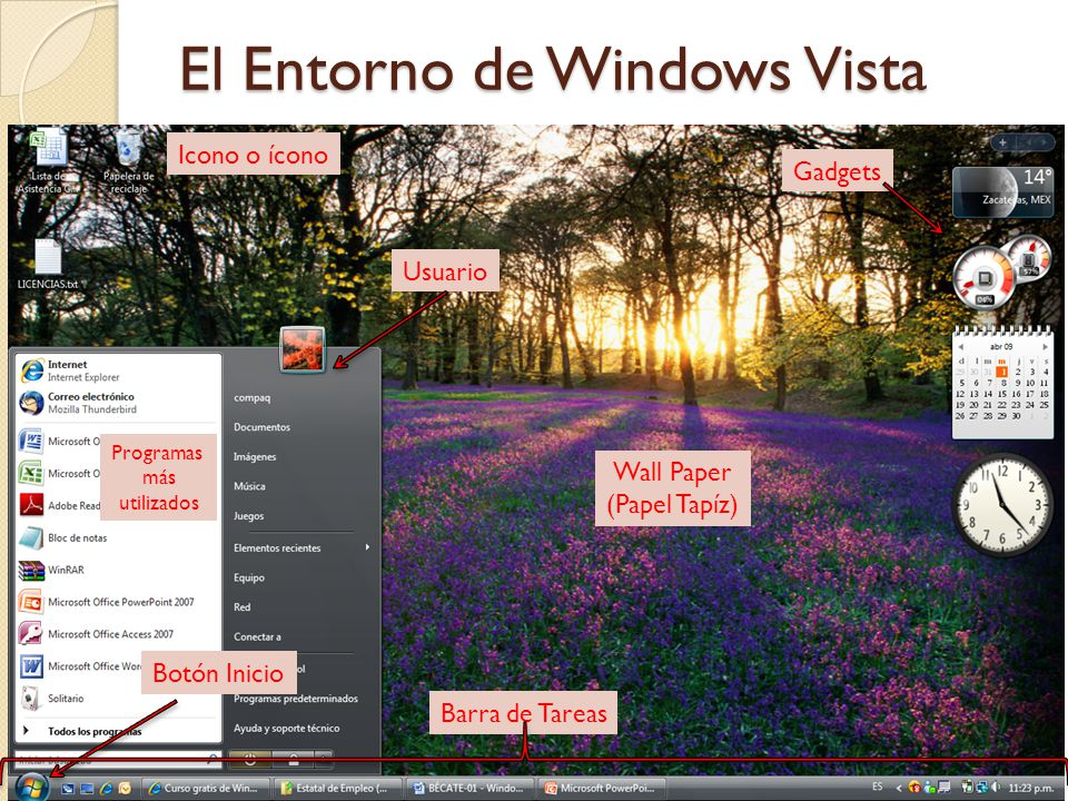 El Entorno de Windows Vista