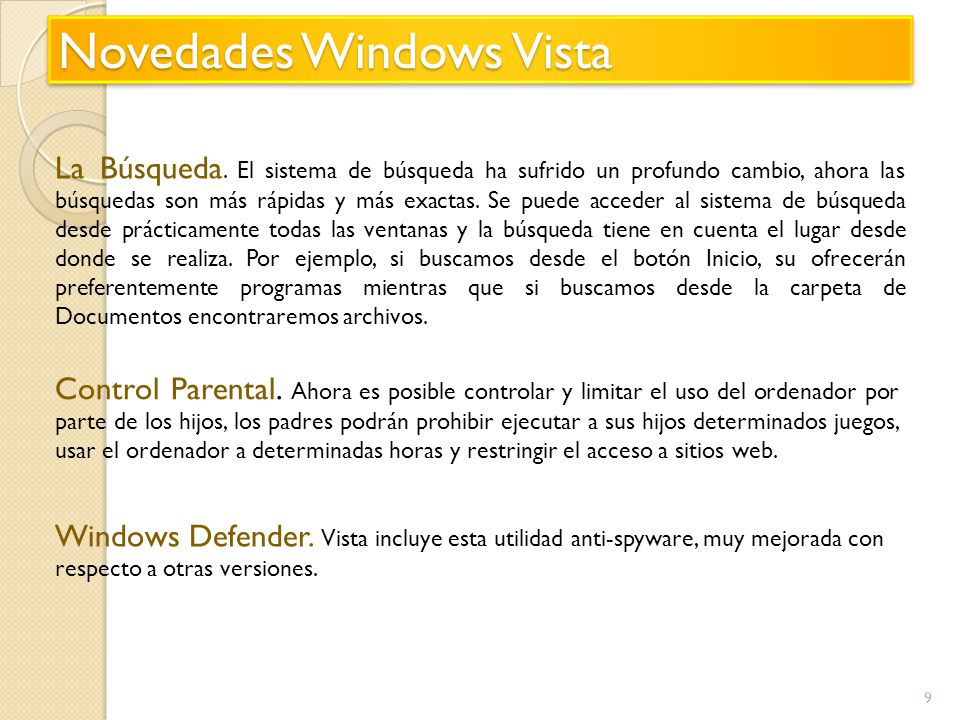Novedades Windows Vista