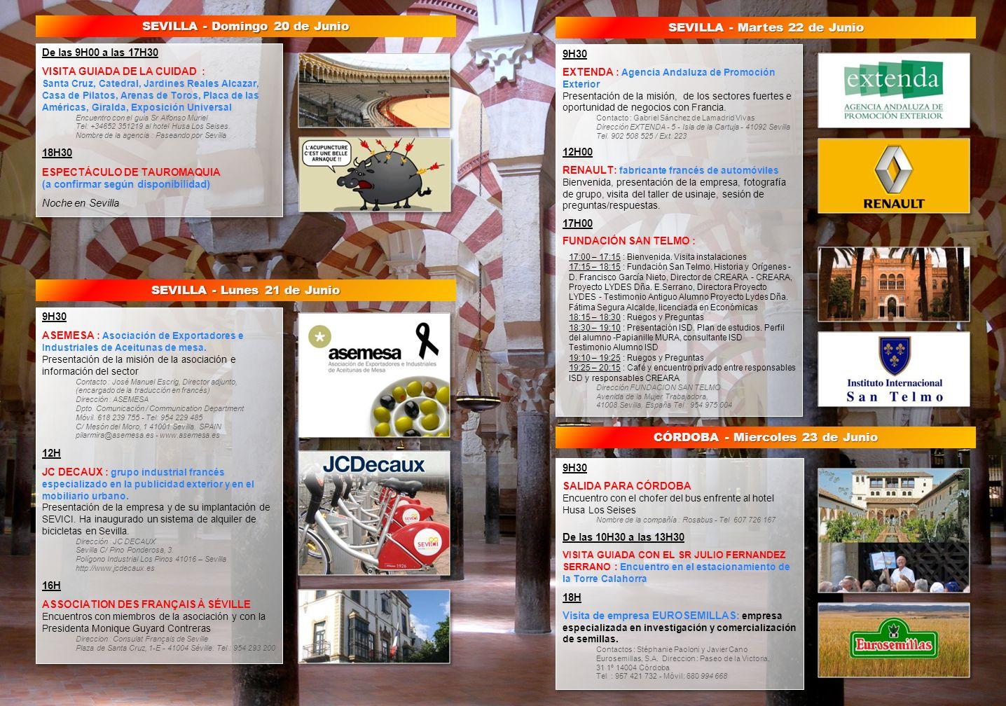 SEVILLA - Domingo 20 de Junio SEVILLA - Martes 22 de Junio