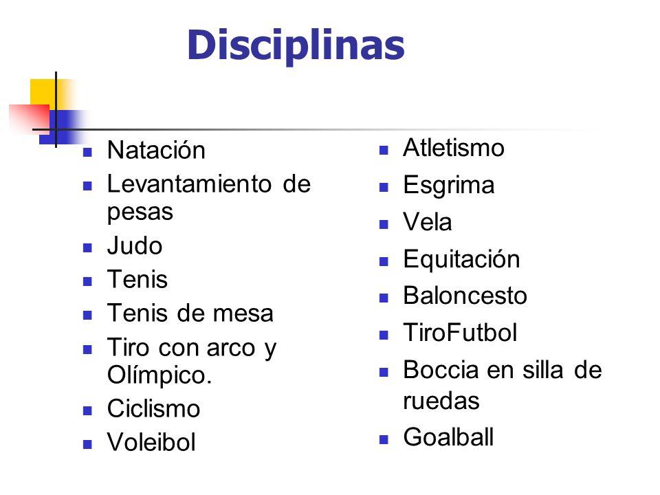 Disciplinas Atletismo Natación Esgrima Levantamiento de pesas Vela