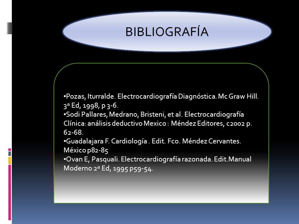 BIBLIOGRAFÍA Pozas, Iturralde. Electrocardiografía Diagnóstica. Mc Graw Hill. 3ª Ed, 1998, p 3-6.