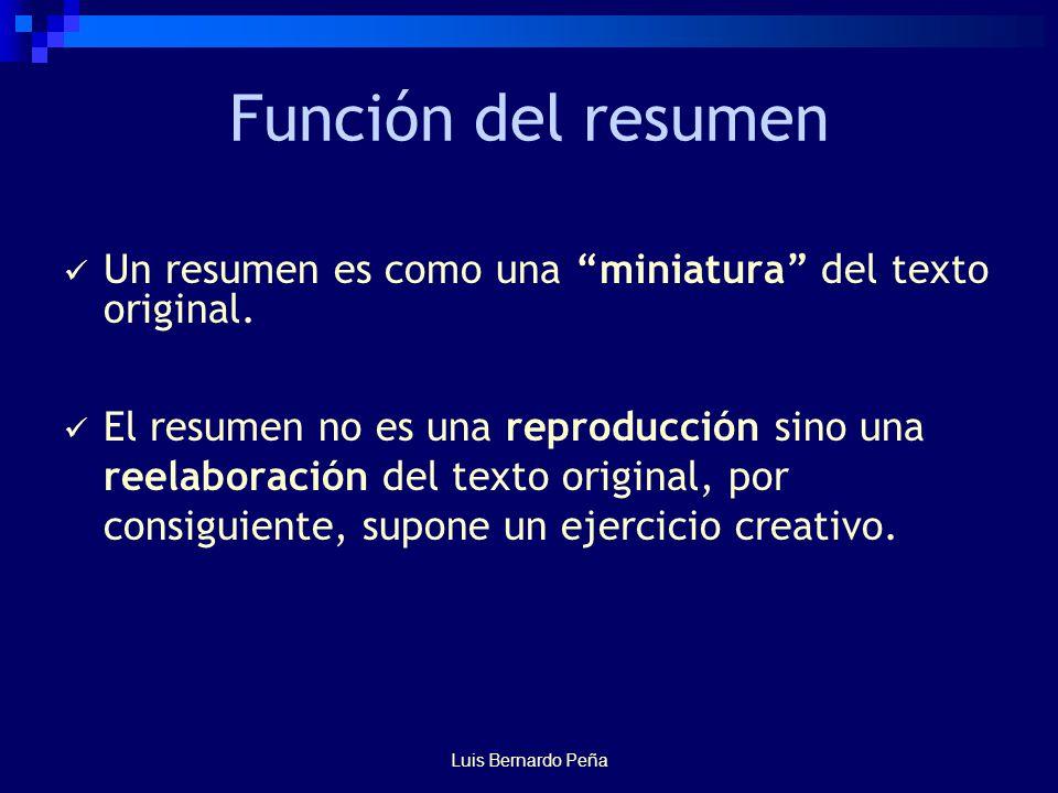 Función del resumen Un resumen es como una miniatura del texto original.
