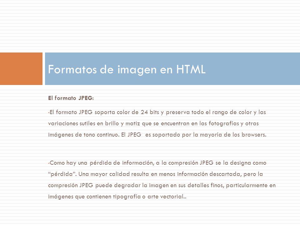Formatos de imagen en HTML