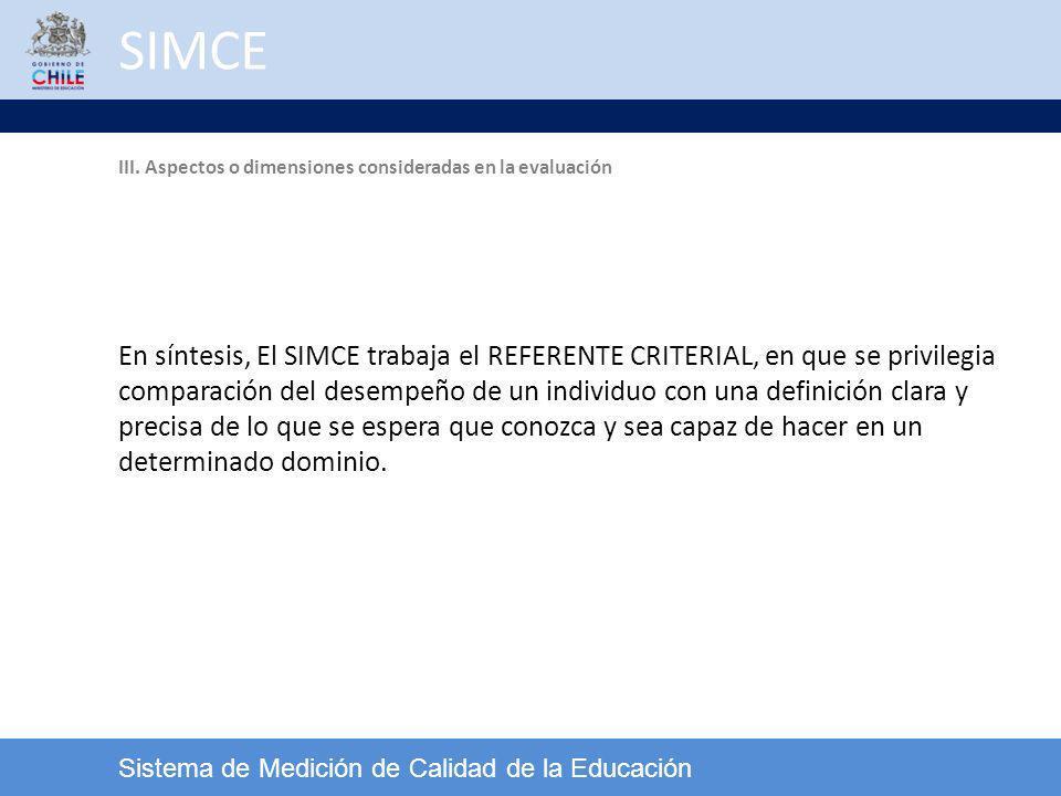 SIMCE III. Aspectos o dimensiones consideradas en la evaluación.