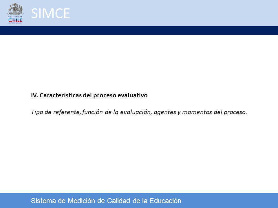 SIMCE IV. Características del proceso evaluativo