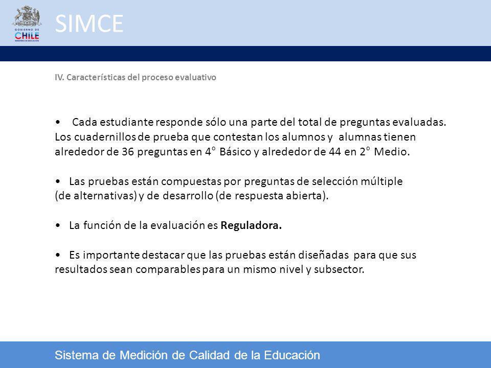 SIMCE IV. Características del proceso evaluativo. Cada estudiante responde sólo una parte del total de preguntas evaluadas.
