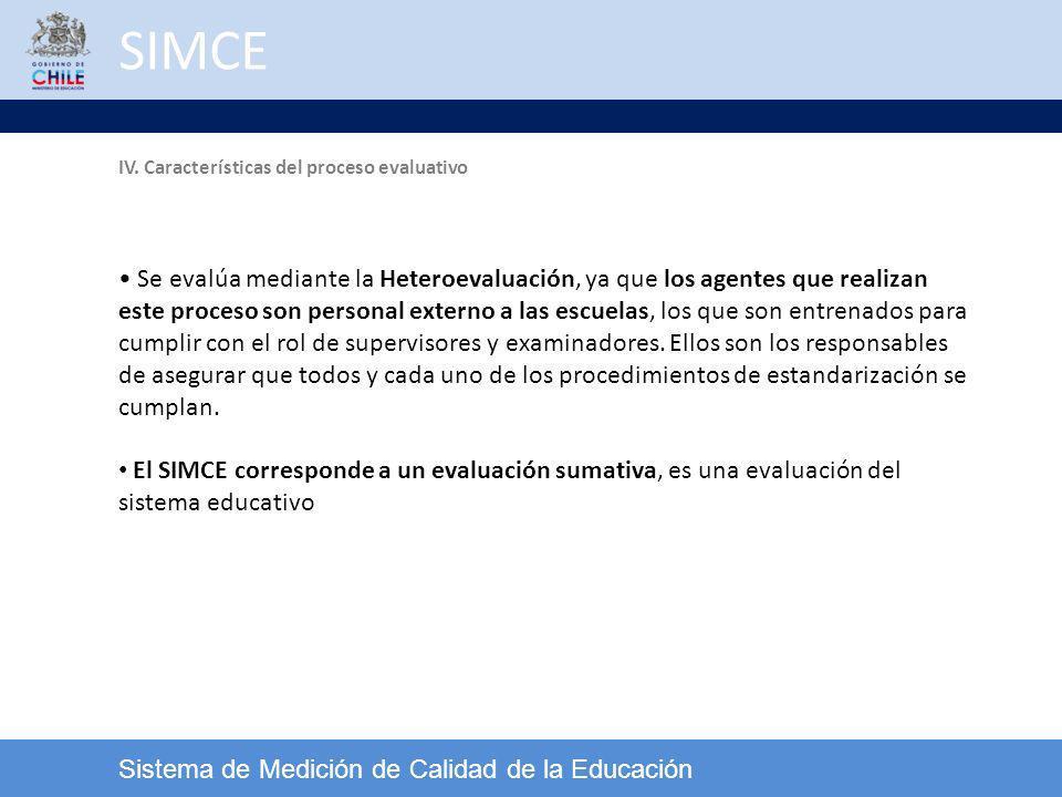 SIMCE IV. Características del proceso evaluativo.