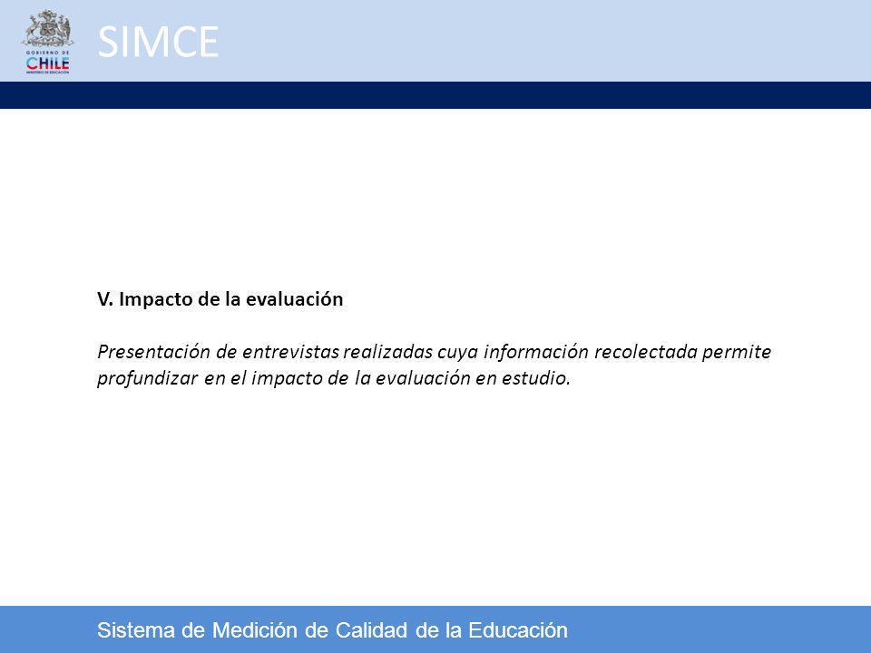 SIMCE V. Impacto de la evaluación
