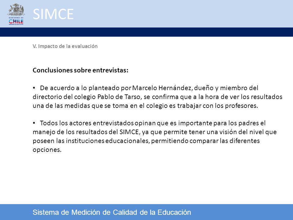 SIMCE Conclusiones sobre entrevistas: