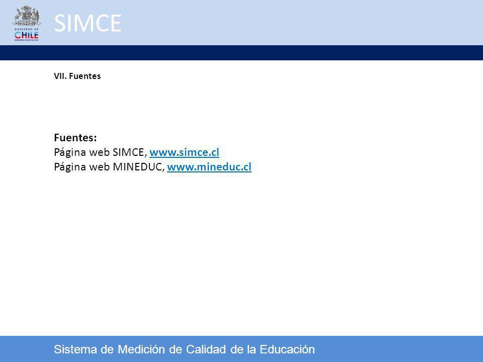 SIMCE Fuentes: Página web SIMCE, www.simce.cl