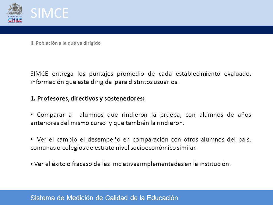 SIMCE II. Población a la que va dirigido.